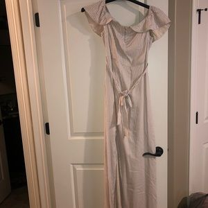NWT Tan & Cream Striped OTS Full Length Dress - M